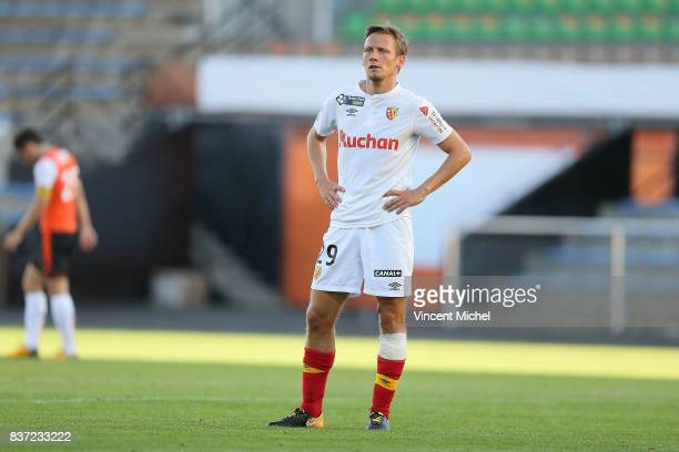 Clement Chantome of Lens looks dejected during the French League Cup match between FC Lorient and RC Lens at Stade du Moustoir on August 22 2017 in...