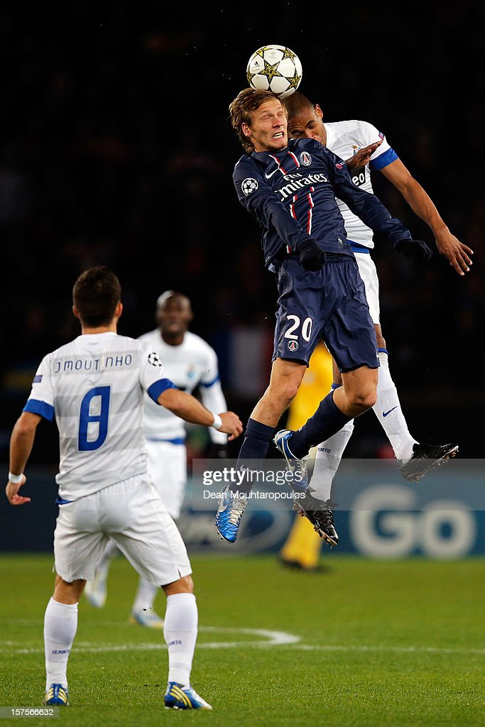 Clement Chantome of PSG and Fernando of Porto battle for the ball during the Group A UEFA Champions League match between Paris Saint-Germain FC and FC Porto at Parc des Princes on December 4, 2012 in Paris, France.
