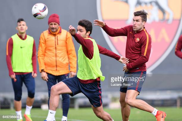 Clement Grenier and Kevin Strootman attends an AS Roma training session at Centro Sportivo Fulvio Bernardini on March 7 2017 in Rome Italy