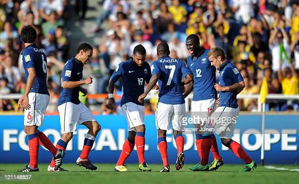 Clement Grenier Francis Coquelin Alexandre Lacazette Gael Kakuta Loic Nego and Antoine Griezmann of France celebrate Lacazette's second goal during...