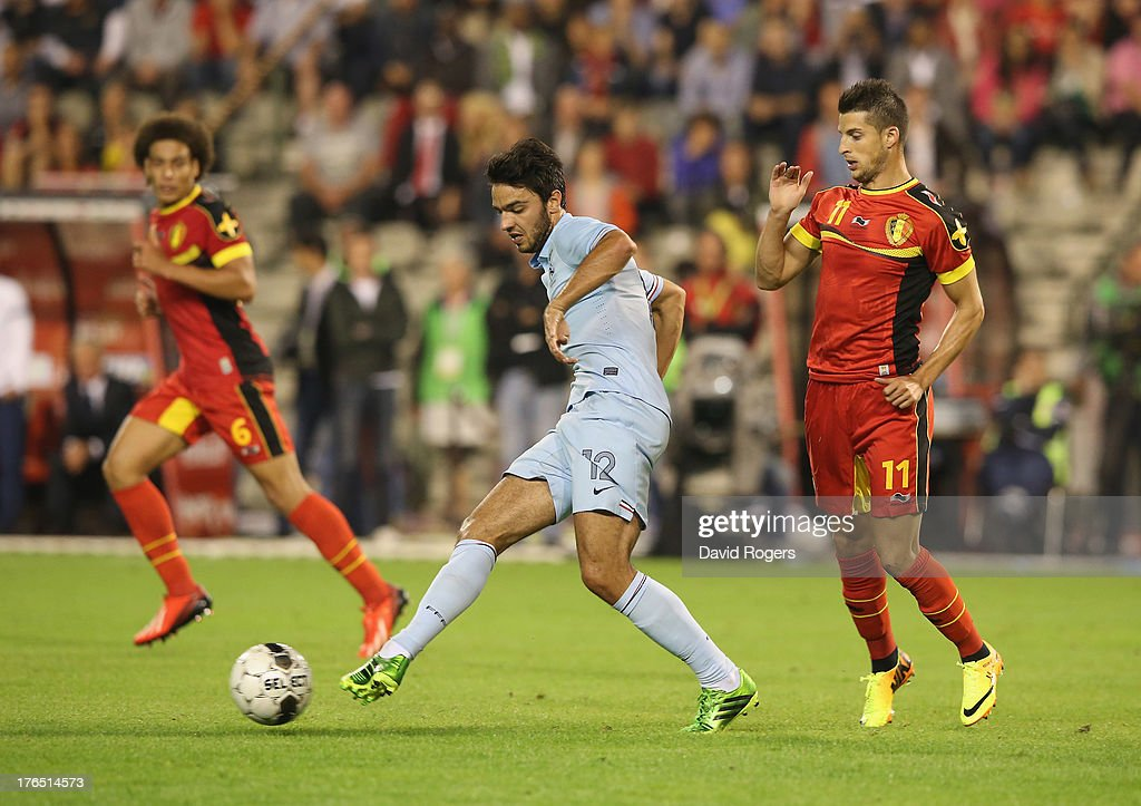 <a gi-track='captionPersonalityLinkClicked' href=/galleries/search?phrase=Clement+Grenier&family=editorial&specificpeople=5774493 ng-click='$event.stopPropagation()'>Clement Grenier</a> of France passes the ball during the International friendly match between Belgium and France at the King Baudouin Stadium on August 14, 2013 in Brussels, Belgium.
