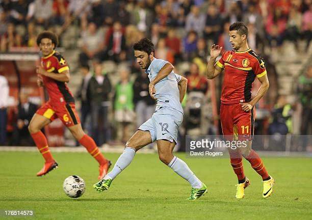 Clement Grenier of France passes the ball during the International friendly match between Belgium and France at the King Baudouin Stadium on August...