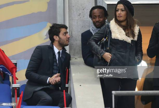 Clement Grenier of Lyon and Sidney Govou attend the French League Cup Final between Olympique Lyonnais OL and Paris SaintGermain FC at Stade de...