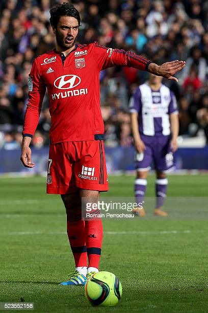 Clement Grenier of Lyon gestures during the French Ligue 1 match between Toulouse and Lyon at Stadium Municipal on April 23 2016 in Toulouse France