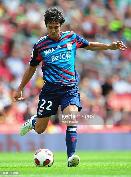 Clement Grenier of Lyon in action during the Emirates Cup match between Celtic and Lyon at Emirates Stadium on July 31 2010 in London England