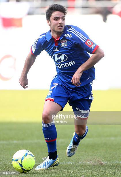 Clement Grenier of Lyon in action during the french Ligue 1 match between Stade de Reims and Olympique Lyonnais OL at the Stade Auguste Delaune on...
