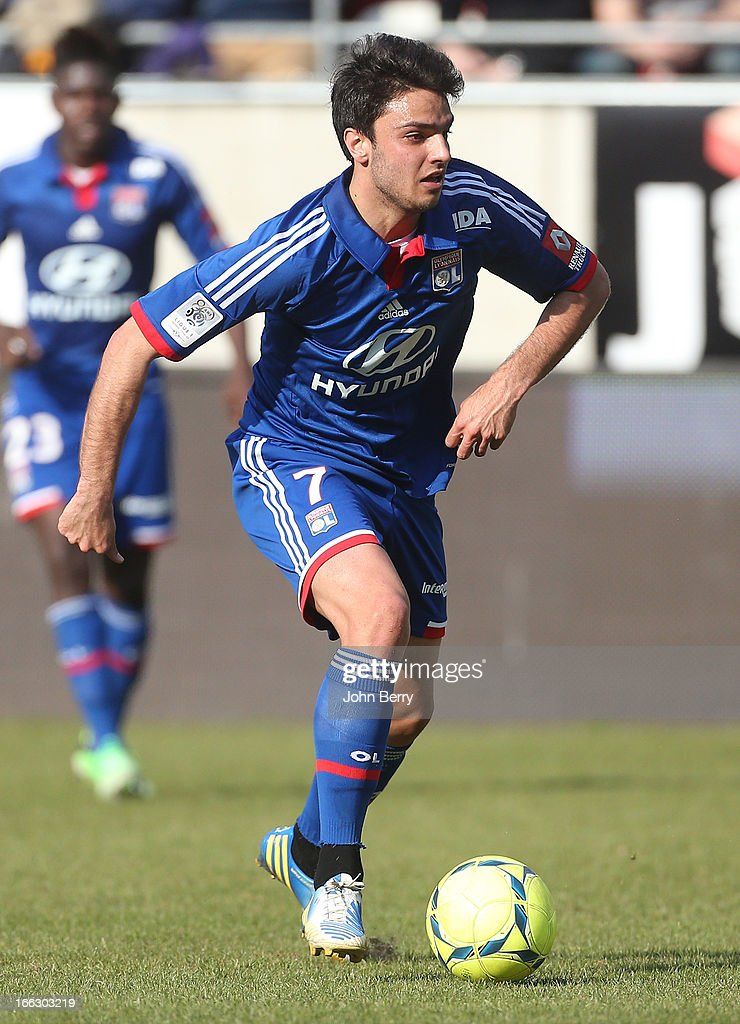 <a gi-track='captionPersonalityLinkClicked' href=/galleries/search?phrase=Clement+Grenier&family=editorial&specificpeople=5774493 ng-click='$event.stopPropagation()'>Clement Grenier</a> of Lyon in action during the french Ligue 1 match between Stade de Reims and Olympique Lyonnais, OL, at the Stade Auguste Delaune on April 7, 2013 in Reims, France.