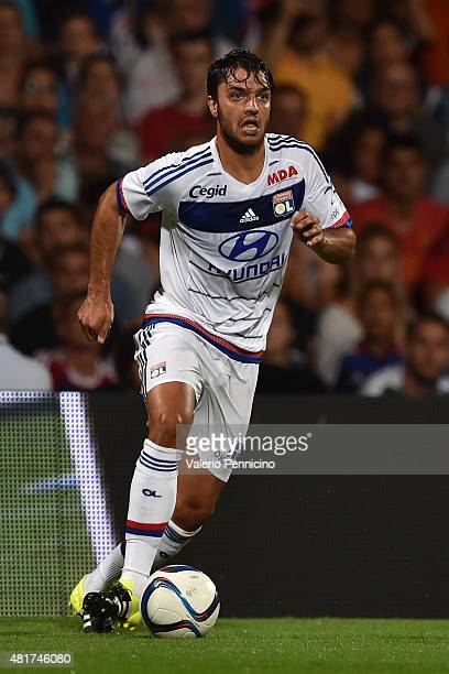 Clement Grenier of Olympique Lyonnais in action during the preseason friendly match between Olympique Lyonnais and AC MIlan at Gerland Stadium on...
