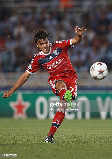 Clement Grenier of Olympique Lyonnais shoots the ball during the UEFA Champions League Playoffs second leg match between Real Sociedad and Olympique...