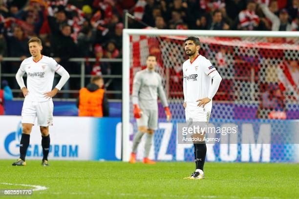 Clement Lenglet and Ever Banega of Sevilla are seen dejected after the goal of Spartak Moscow during the UEFA Champions League match between Spartak...