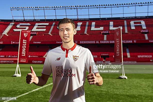Clement Lenglet of Sevilla FC during his official presentation at the Estadio Ramon Sanchez Pizjuan on January 9 2017 in Seville Spain