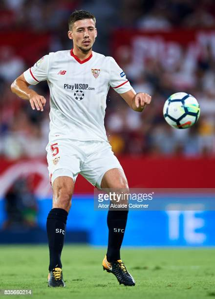 Clement Lenglet of Sevilla FC in action during the La Liga match between Sevilla and Espanyol at Estadio Ramon Sanchez Pizjuan on August 19 2017 in...