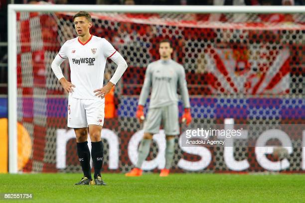 Clement Lenglet of Sevilla is seen dejected after the goal of Spartak Moscow during the UEFA Champions League match between Spartak Moscow and...