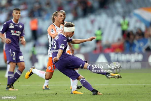 Clement Michelin of Toulouse during the Ligue 1 match between Toulouse FC and Montpellier Herault SC at Stadium Municipal on August 12 2017 in...