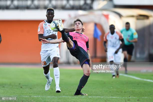 Clement Michelin of Tououse and Isaac Mbenza of Montpellier during the friendly match between Montpellier Herault and Toulouse Fc on July 22 2017 in...