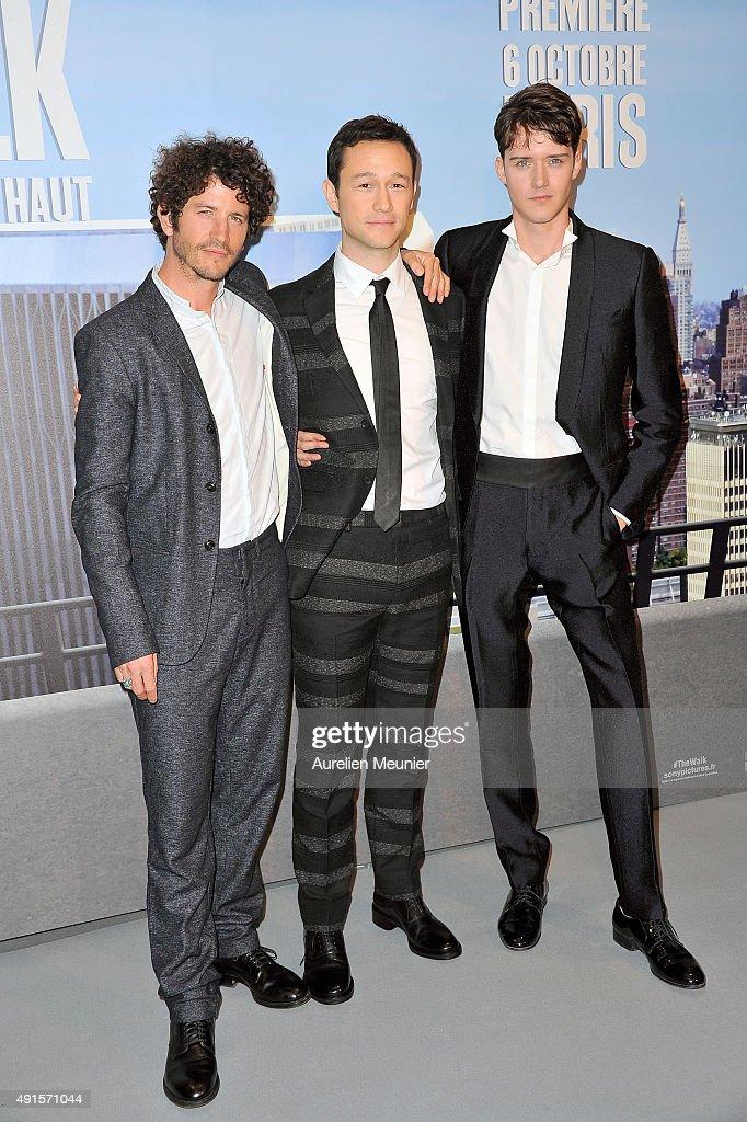 Clement Sibony, Joseph Gordon-Levitt and Cesar Domboy attend the 'The Walk: Rever Plus Haut' Paris premiere at Cinema UGC Normandie on October 6, 2015 in Paris, France.