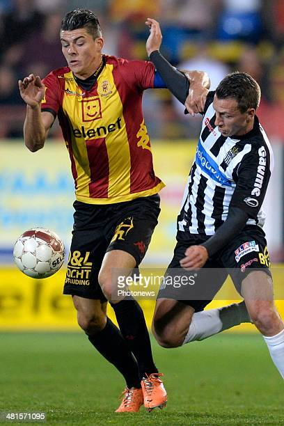 Clement Tainmont of Charleroi battles for the ball with Seth De Witte of KV Mechelen during the Jupiler Pro League play off 2 match between KV...