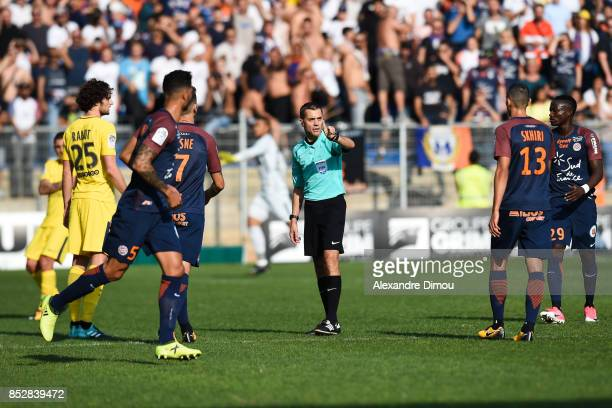 Clement Turpin Referee during the Ligue 1 match between Montpellier Herault SC and Paris Saint Germain at Stade de la Mosson on September 23 2017 in...