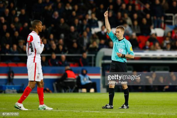 Clement Turpin referee give a yellow card Abdou Diallo of Monaco during the Semi final of the French Cup match between Paris SaintGermain and As...