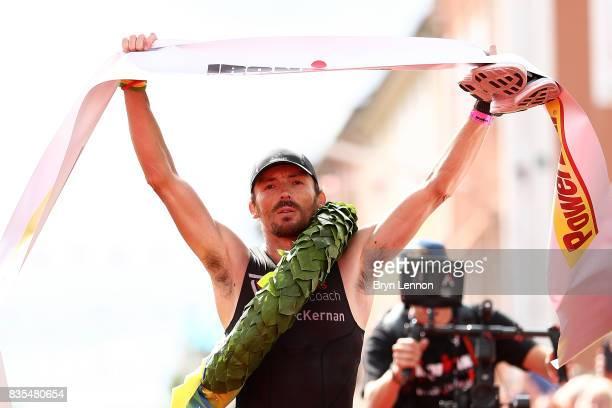 Clemente AlonsoMcKernan of Spain crosses the line to win IRONMAR Kalmar on August 19 2017 in Kalmar Sweden