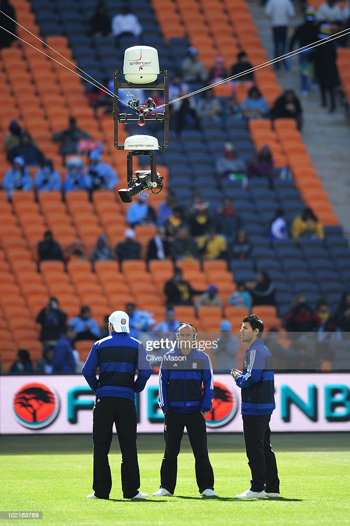 Clemente Rodriguez of Argentina stands beneath the spidercam system prior to the 2010 FIFA World Cup South Africa Group B match between Argentina and...