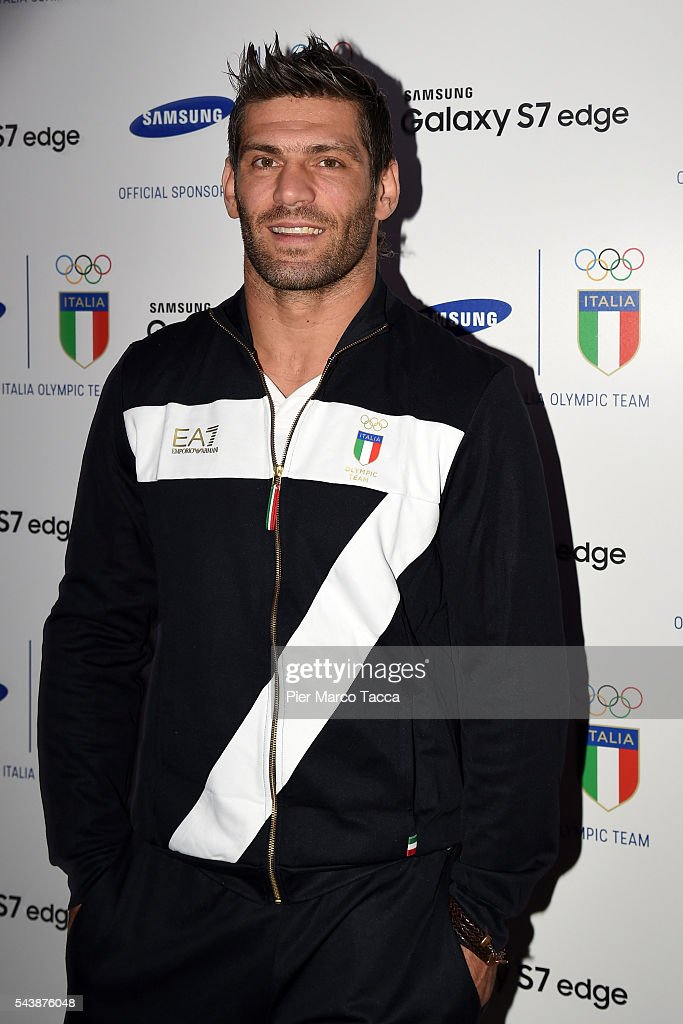 <a gi-track='captionPersonalityLinkClicked' href=/galleries/search?phrase=Clemente+Russo&family=editorial&specificpeople=2327152 ng-click='$event.stopPropagation()'>Clemente Russo</a> poses for a photo during the Samsung Galaxy Team press conference on June 30, 2016 in Milan, Italy.