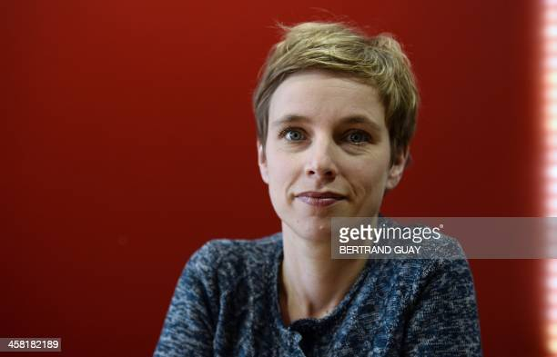 Clementine Autain France's Left Front candidate for the 2014 municipal elections poses in Sevran in SeineSaintDenis on December 20 2013 AFP PHOTO /...