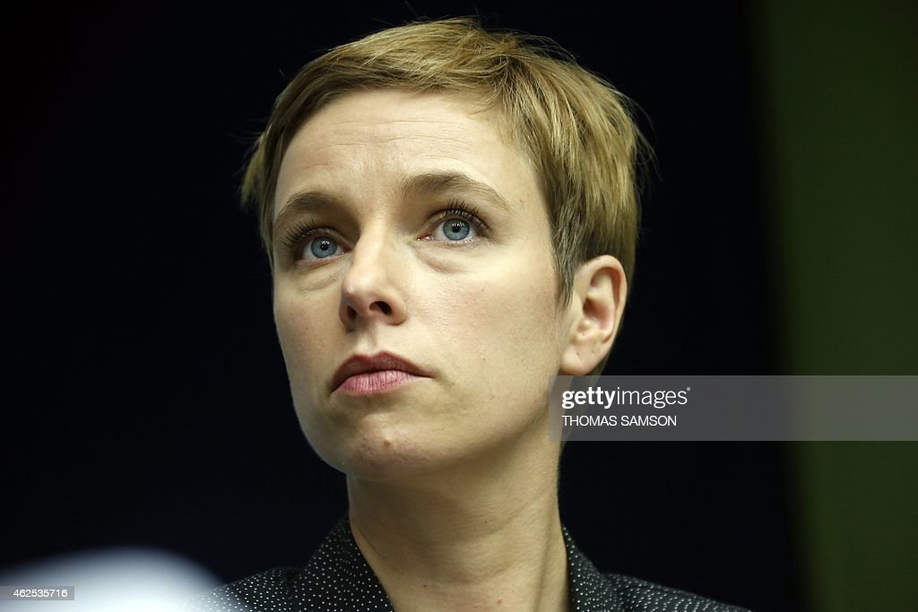 Clementine Autain, spokesperson of 'Ensemble', attends a meeting of the French political movement 'Ensemble' in Bobigny, near Paris, on January 30, 2015. AFP PHOTO / THOMAS SAMSON