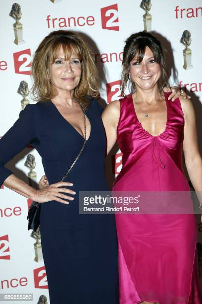Clementine Celarie and Anne Bouvier attend 'La Nuit des Molieres 2017' at Folies Bergeres on May 29 2017 in Paris France