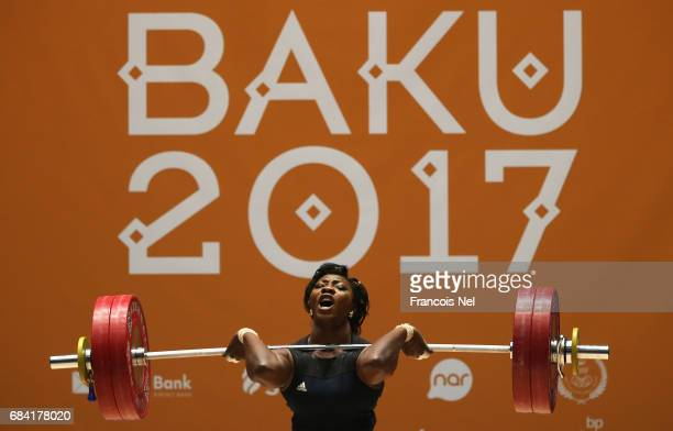 Clementine Meukeugni Noumbissi of Cameroon competes in the Women's 90kg Weighlifting finals during day six of Baku 2017 4th Islamic Solidarity Games...