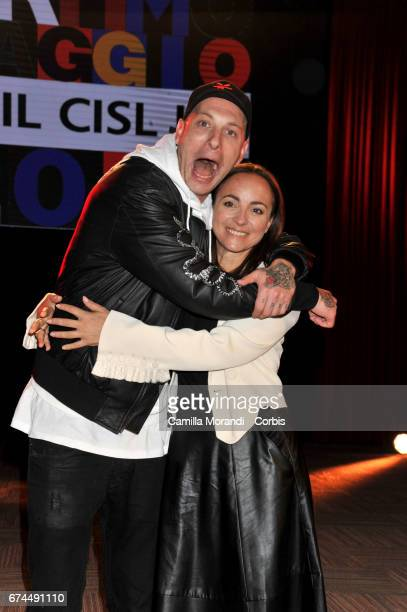 Clementino and Camila Raznovich attend the 1st Of May Concert In Rome Press Conference on April 28 2017 in Rome Italy