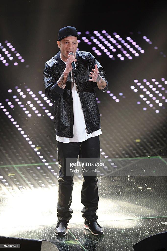 Clementino attends second night of the 66th Festival di Sanremo 2016 at Teatro Ariston on February 10, 2016 in Sanremo, Italy.