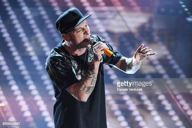 Clementino attends the fourth night of the 67th Sanremo Festival 2017 at Teatro Ariston on February 10 2017 in Sanremo Italy