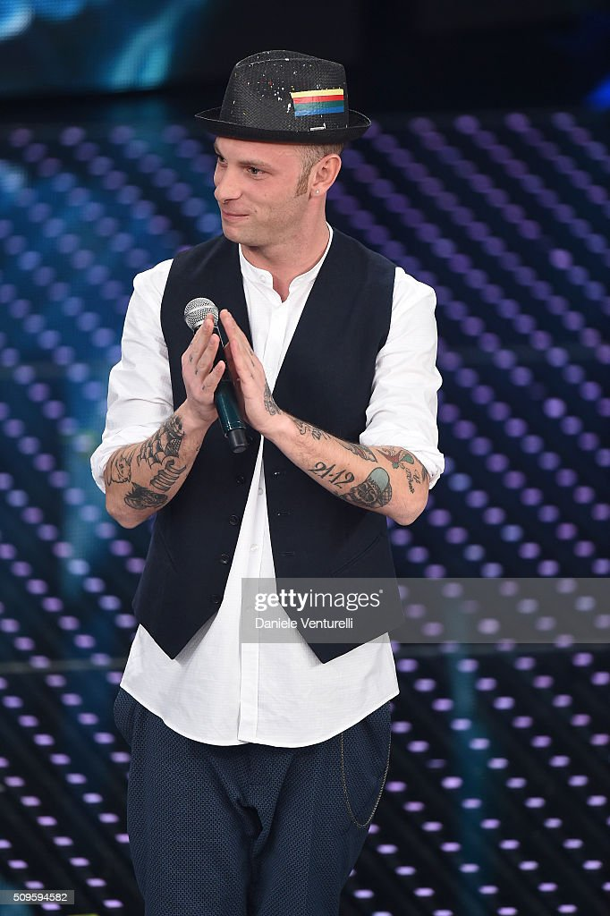 Clementino attends the third night of the 66th Festival di Sanremo 2016 at Teatro Ariston on February 11, 2016 in Sanremo, Italy.