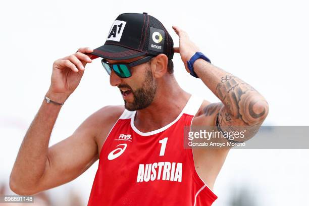 Clemmens Doppler from Austria reacts during their quarter final match against Italy during the FIVB Beach Volleyball World Tour at the Sportcampus...