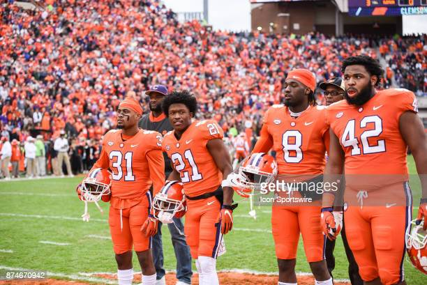 Clemson captains Ryan Carter RayRay McCloud Deon Cain Christian Wilkins during pregame between the Clemson Tigers and the Florida State Seminoles at...