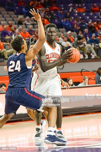 Clemson center Sidy Djitte gets ready to shoot during 2nd half action between the Clemson Tigers and the South Carolina State Bulldogs on December 13...