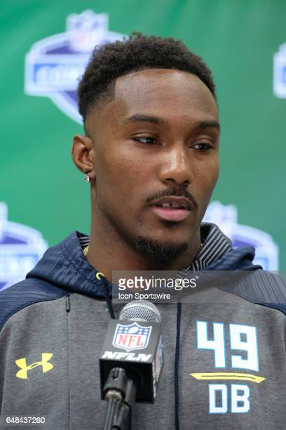 Clemson defensive back Cordrea Tankersley answers questions from members of the media during the NFL Scouting Combine on March 5 2017 at Lucas Oil...