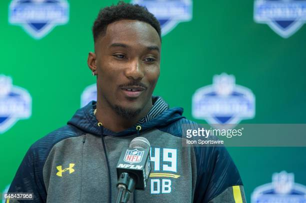 Clemson defensive back Cordrea Tankersley answers questions from the media during the NFL Scouting Combine on March 5 2017 at Lucas Oil Stadium in...