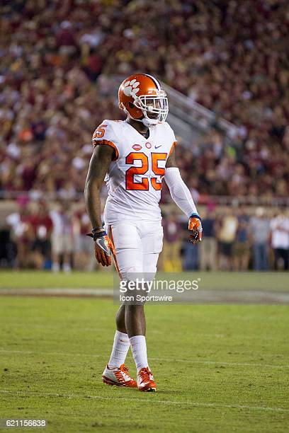 Clemson defensive back Cordrea Tankersley looks on during an NCAA football game between the Florida State Seminoles and the Clemson Tigers on October...
