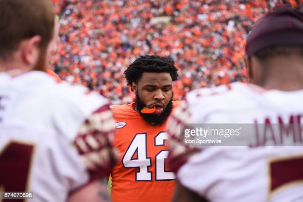 Clemson defensive lineman Christian Wilkins awaits the coin toss during pregame between the Clemson Tigers and the Florida State Seminoles at...