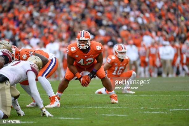Clemson defensive lineman Christian Wilkins blocks on an extra point attempt during 1st half action between the Clemson Tigers and the Florida State...