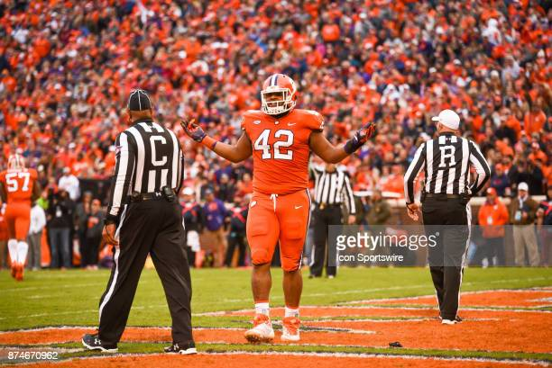 Clemson defensive lineman Christian Wilkins during 1st half action between the Clemson Tigers and the Florida State Seminoles at Memorial Stadium in...