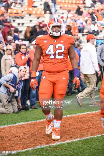Clemson defensive lineman Christian Wilkins during pregame between the Clemson Tigers and the Florida State Seminoles at Memorial Stadium in Clemson...