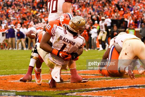 Clemson defensive lineman Christian Wilkins sacks Florida State quarterback James Blackman during 1st half action between the Clemson Tigers and the...