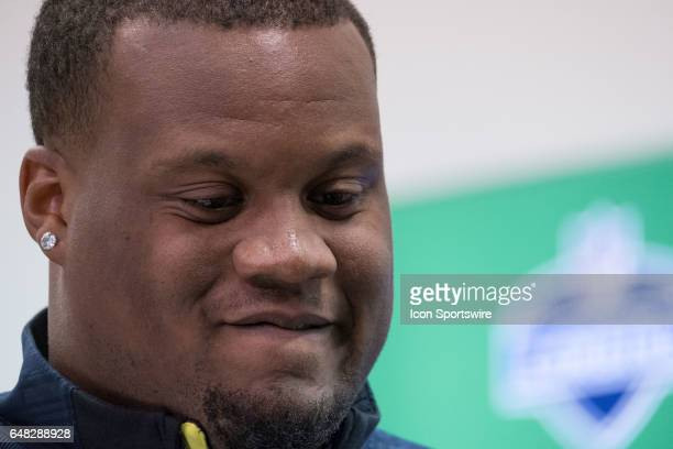 Clemson defensive tackle Carlos Watkins answers questions from members of the media during the NFL Scouting Combine on March 4 2017 at Lucas Oil...