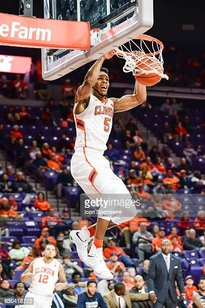 Clemson forward Jaron Blossomgame dunks during 1st half action between the Clemson Tigers and South Carolina State Bulldogs on December 13 2016 at...