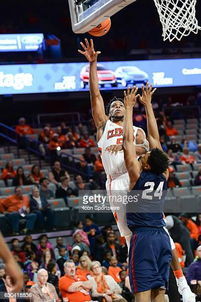 Clemson forward Jaron Blossomgame goes up with a shot during 2nd half action between the Clemson Tigers and the South Carolina State Bulldogs on...