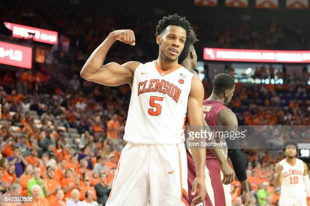 Clemson forward Jaron Blossomgame reacts after getting fouled and making the basket during 2nd half action between the Clemson Tigers and the Florida...