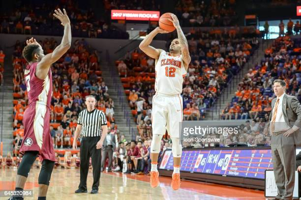 Clemson guard Avry Holmes shoots during 2nd half action between the Clemson Tigers and the Florida State Seminoles on February 25 at Littlejohn...